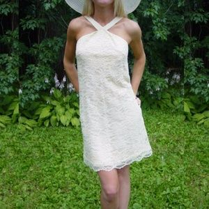 VTG. 70s Ivory Lace Halter Dress w Bow S-M